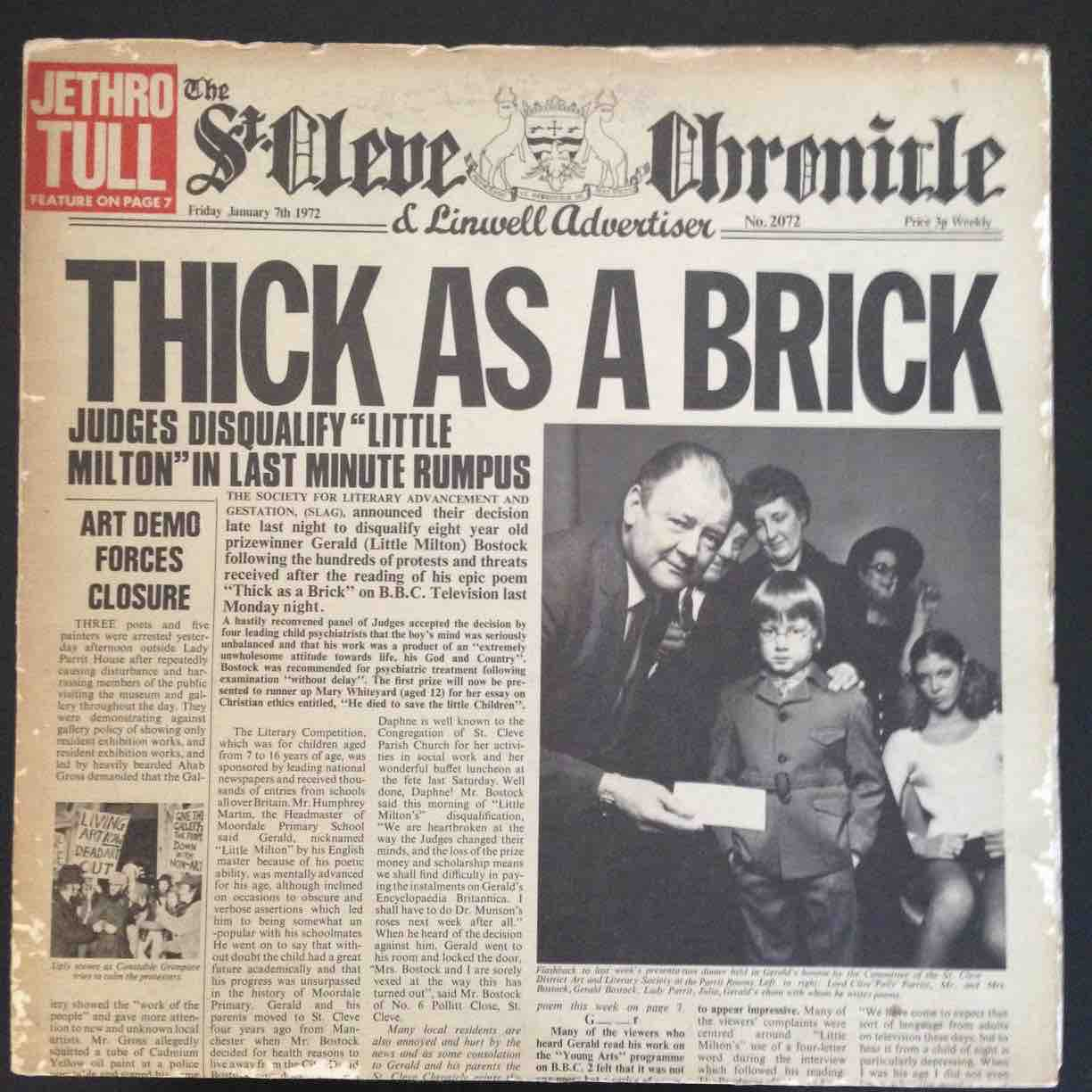 Jethro Tull Thick As A Brick 1972 Pressing With Rare 12